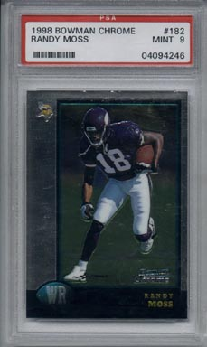 1998 Bowman Chrome Football #182 Randy Moss ROOKIE Mint PSA 9 Minnesota VIKINGS NICE!!