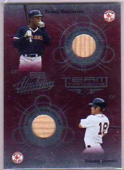 2002 Absolute Memorabilia Team Tandems Materials #35 Johnny Damon Bat/Rickey Henderson Bat
