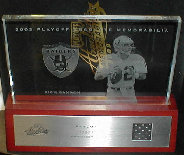 2003 Absolute Memorabilia Glass Plaques #66 Rich Gannon JSY/150