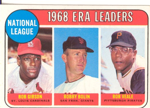 1969 Topps #8 NL ERA Leaders/Bob Gibson/Bobby Bolin/Bob Veale