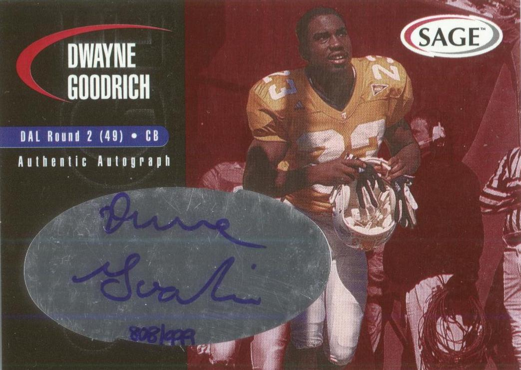 2000 SAGE Autographs Red #A17 Dwayne Goodrich/999