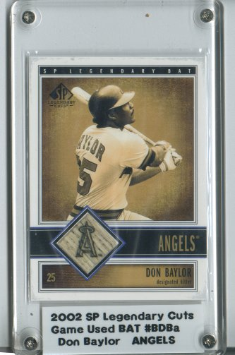 2002 SP Legendary Cuts Game Bat #BDBA Don Baylor DP