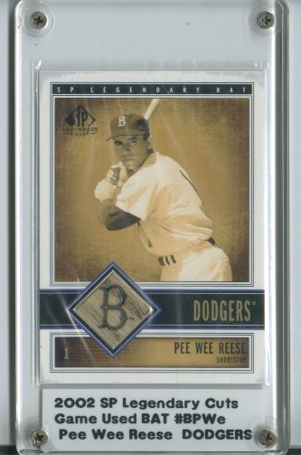 2002 SP Legendary Cuts Game Bat #BPWE Pee Wee Reese DP