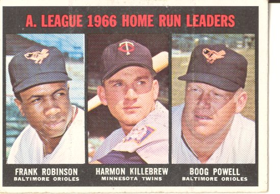 1967 Topps #243 AL Home Run Leaders/Frank Robinson/Harmon Killebrew/Boog Powell