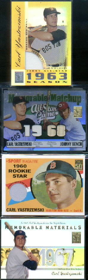 2003 Topps Tribute Perennial All-Star Memorable Match-Up Relics #YB Carl Yastrzemski Jsy/Johnny Bench Bat