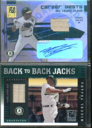 2003 Donruss Elite Career Bests Materials Autographs #20 Miguel Tejada HR Bat/25