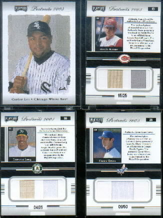 2003 Playoff Portraits Materials Combo Silver #43 Austin Kearns Bat-Jsy