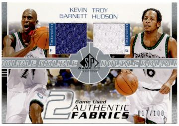 2003-04 SP Game Used Authentic Fabrics Dual #KGTHJ Kevin Garnett/Troy Hudson