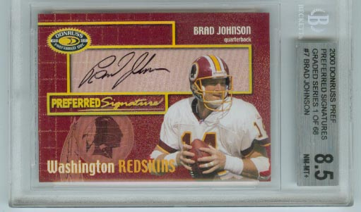 2000 Donruss Preferred Signature PS-7 Brad Johnson BGS Graded 8.5 NM-MT+