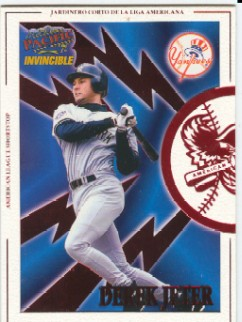 1998 Pacific Invincible Interleague Players #8A Derek Jeter