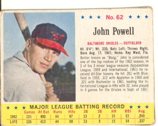 1963 Post #62 Boog Powell