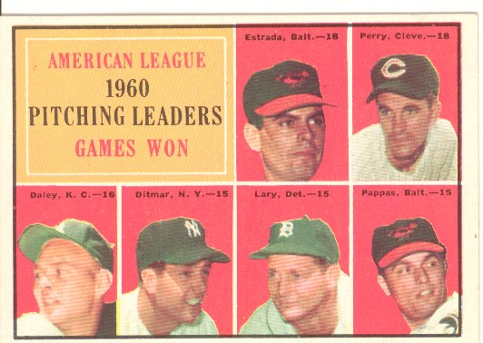 1961 Topps #48 AL Pitching Leaders/Chuck Estrada/Jim Perry UER/(Listed as an Oriole)/Bud Daley/Art Ditmar/Frank Lary/Milt Pappas front image