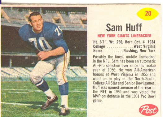 1962 Post Cereal #20 Sam Huff