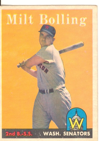 1958 Topps #188 Milt Bolling UER/Photo actually/Lou Berberet