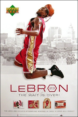 2003 2004 NBA Upper Deck Cleveland Cavaliers LeBron James Huge 24 inches by 26 inches Poster, Not Folded, *** In Stock *** front image