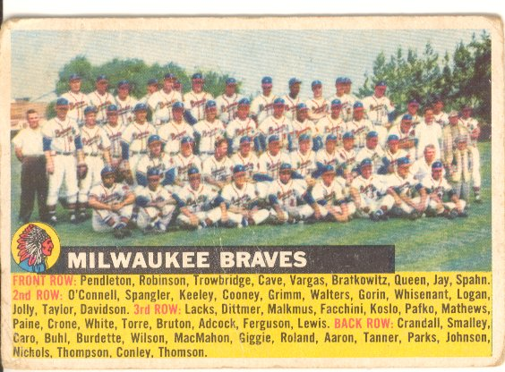 1956 Topps #95C Milwaukee Braves TC (No Date Name Left)
