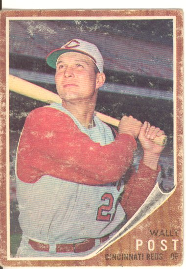 1962 Topps #148A Wally Post/Green Tint