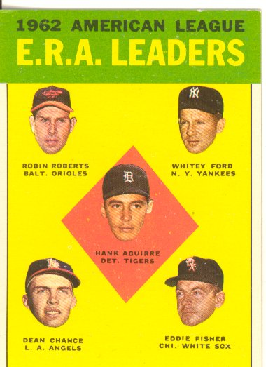 1963 Topps #6 AL ERA Leaders/Hank Aguirre/Robin Roberts/Whitey Ford/Eddie Fisher/Dean Chance