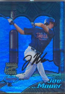 2002 Bowman's Best Blue #110 Joe Mauer AU