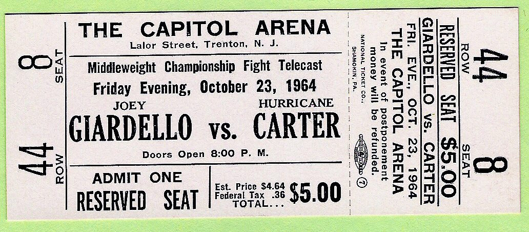 HURRICANE CARTER vs. JOEY GIARDELLO boxing championship ticket - UNUSED