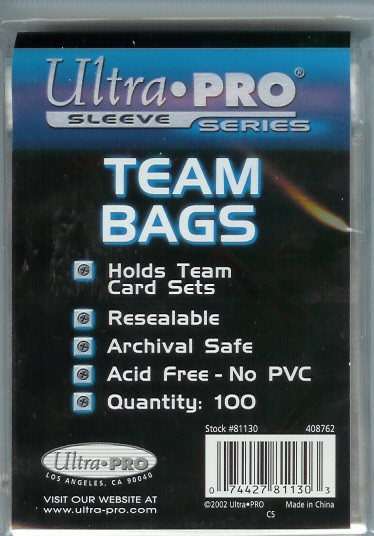 100 Ultra Pro Resealable TEAM BAGS for sports cards & gaming cards 