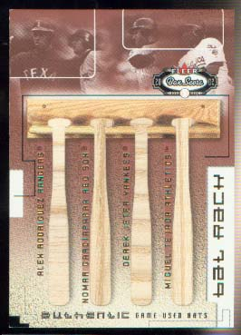 2002 Fleer Box Score Bat Rack Quads #6 ARod/Nomar/Jeter/Tejada