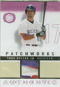 2003 Fleer Patchworks Game-Worn Patch  #PW-TH2  Todd Helton 3 Color Jersey  #d 237/300