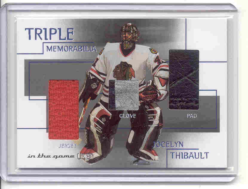 2003-04 ITG Used Signature Series Triple Memorabilia #11 Jocelyn Thibault/50