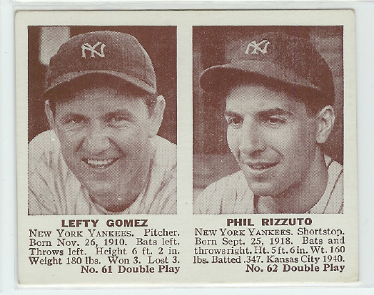 1941 Double Play #61 Lefty Gomez/Phil Rizzuto XRC