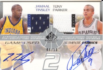 2002-03 SP Game Used Autographed Authentic Fabrics Dual #JTTPA Jamaal Tinsley/Tony Parker