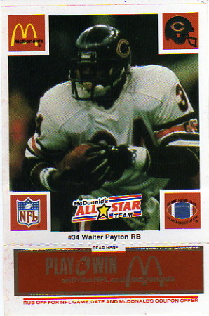 1986 McDonald's All-Stars Green Tab #34B Walter Payton