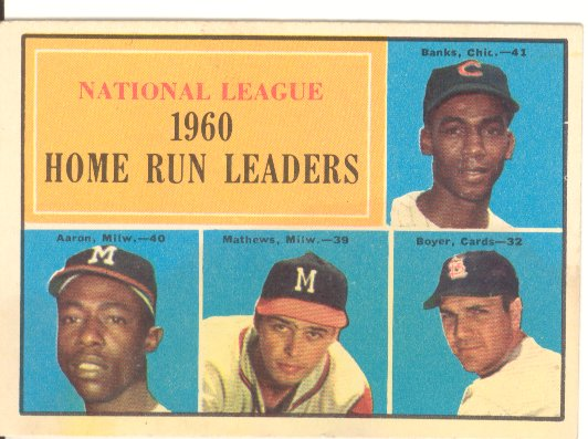 1961 Topps #43 NL Home Run Leaders/Ernie Banks/Hank Aaron/Ed Mathews/Ken Boyer