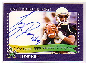 2003-07 Notre Dame TK Legacy National Champions Autographs #1988A Tony Rice 1