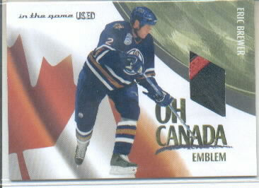 2003-04 ITG Used Signature Series Oh Canada Emblems #7 Eric Brewer