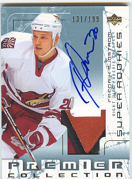 2003-04 UD Premier Collection #105 Fredrik Sjostrom PATCH AU RC
