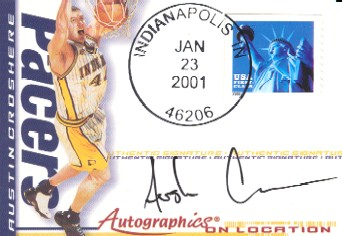 2000-01 Fleer Futures Autographics On Location #AOL4 Austin Croshere/240
