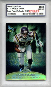 1999 Topps Finest Team Finest Gold Refractors #T8 Randy Moss Serial #21/25 Graded Gem Mint 10
