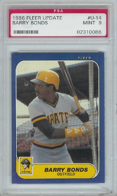 1986 Fleer Update Barry Bonds Rookie PSA Graded MINT 9