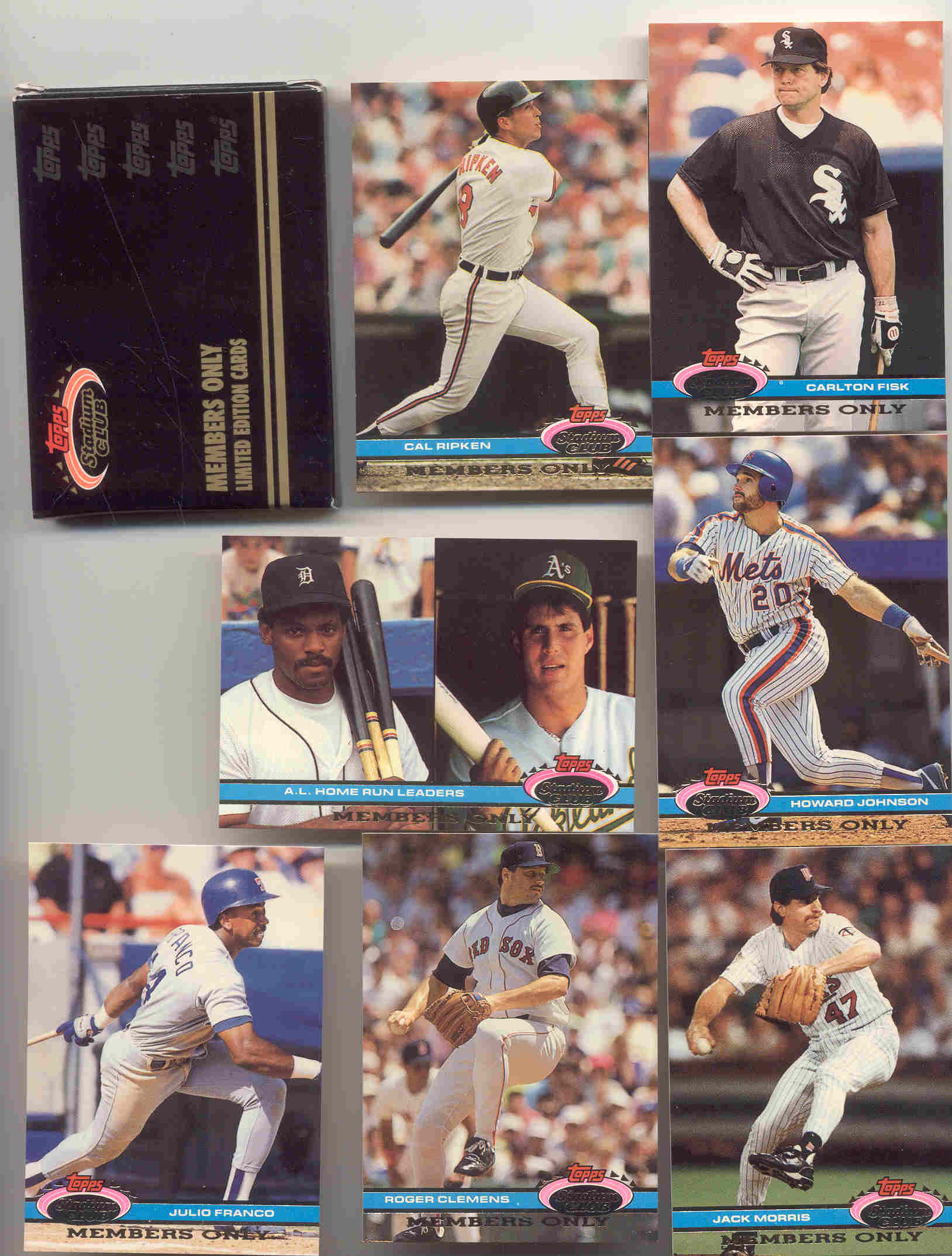 1991 Stadium Club Members Only Limited Edition Cards Glavine Knoblauch Harnisch Saberhagen Pendelton Henderson Lankford Cone Reardon Morris  Franco Johnson Fisk Ripken Clemens  Ryan Bagwell