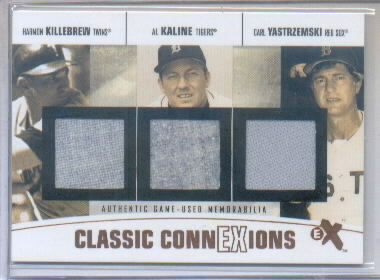 2004 E-X Classic ConnExions Game Used Triple #KKY Harmon Killebrew Pants/Al Kaline Pants/Carl Yastrzemski Jsy
