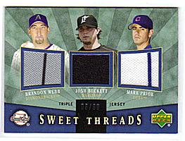 2004 Sweet Spot Sweet Threads Triple #WBP Brandon Webb/Josh Beckett/Mark Prior
