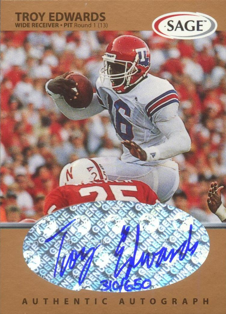 1999 SAGE Autographs Bronze #A17 Troy Edwards/650