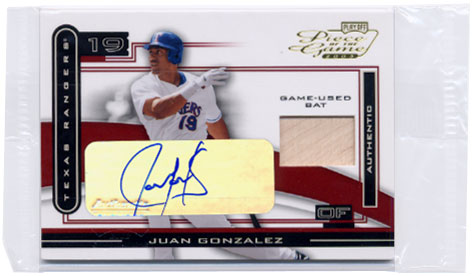 2003 Playoff Piece of the Game Autographs #51A Juan Gonzalez Bat/50