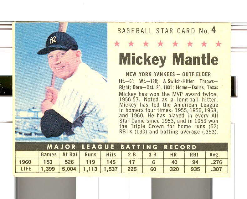 1961 Post #4B Mickey Mantle BOX