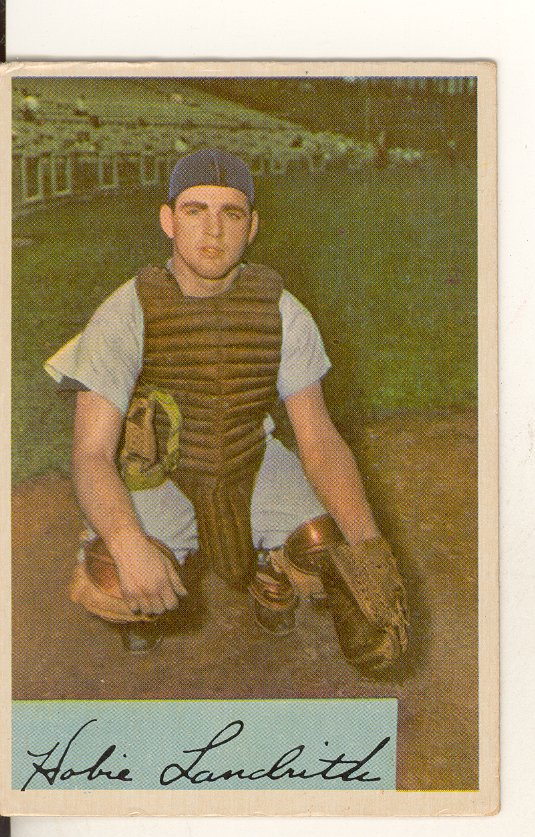 1954 Bowman #220 Hobie Landrith RC front image