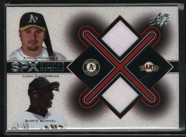 2001 SPx Winning Materials Update Duos #JGBB Jason Giambi/Barry Bonds