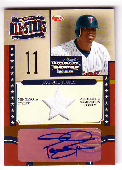 2004 Donruss World Series Playoff All-Stars Signature Material 1 #9 Jacque Jones Jsy/100