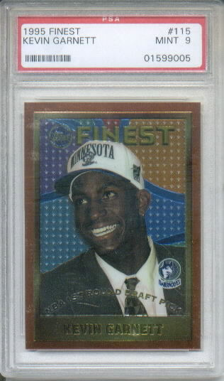 1995-96 Topps Finest #115 Kevin Garnett RC Graded PSA Mint 9