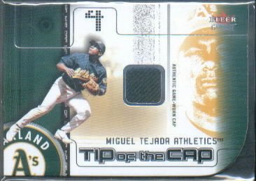 2002 Fleer Genuine Tip of the Cap Game Used #26 Miguel Tejada/225