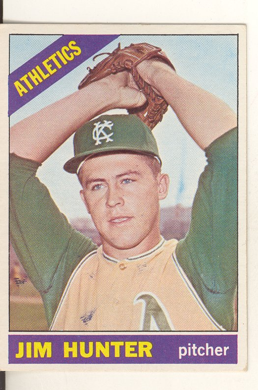 1966 Topps #36 Jim Hunter DP/UER Stats say 1963 and 1964/should be 1964 and 1965